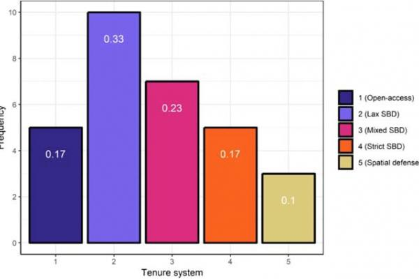 Figure showing the frequency of different tenure systems in our sample.